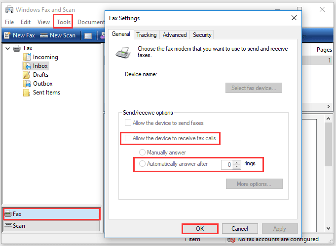 set Windows Fax and Scan to receive a fax automatically