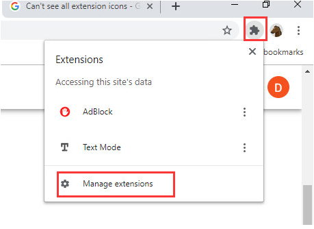 Manage extensions