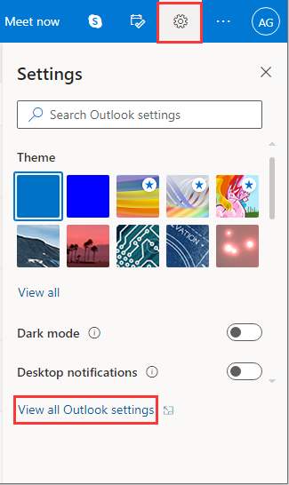 click View all Outlook settings