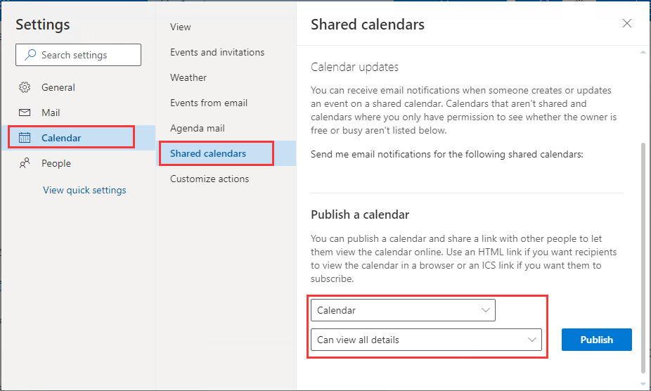 select calendar and set permissions