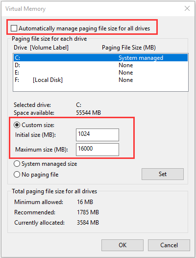 change paging file size