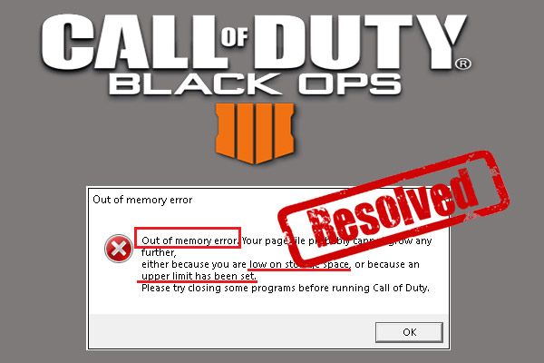 Black Ops 4 out of memory error