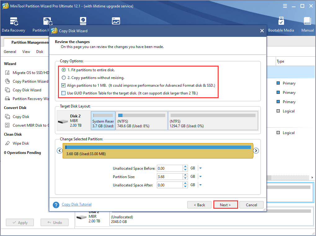 choose copy options and configure the new disk