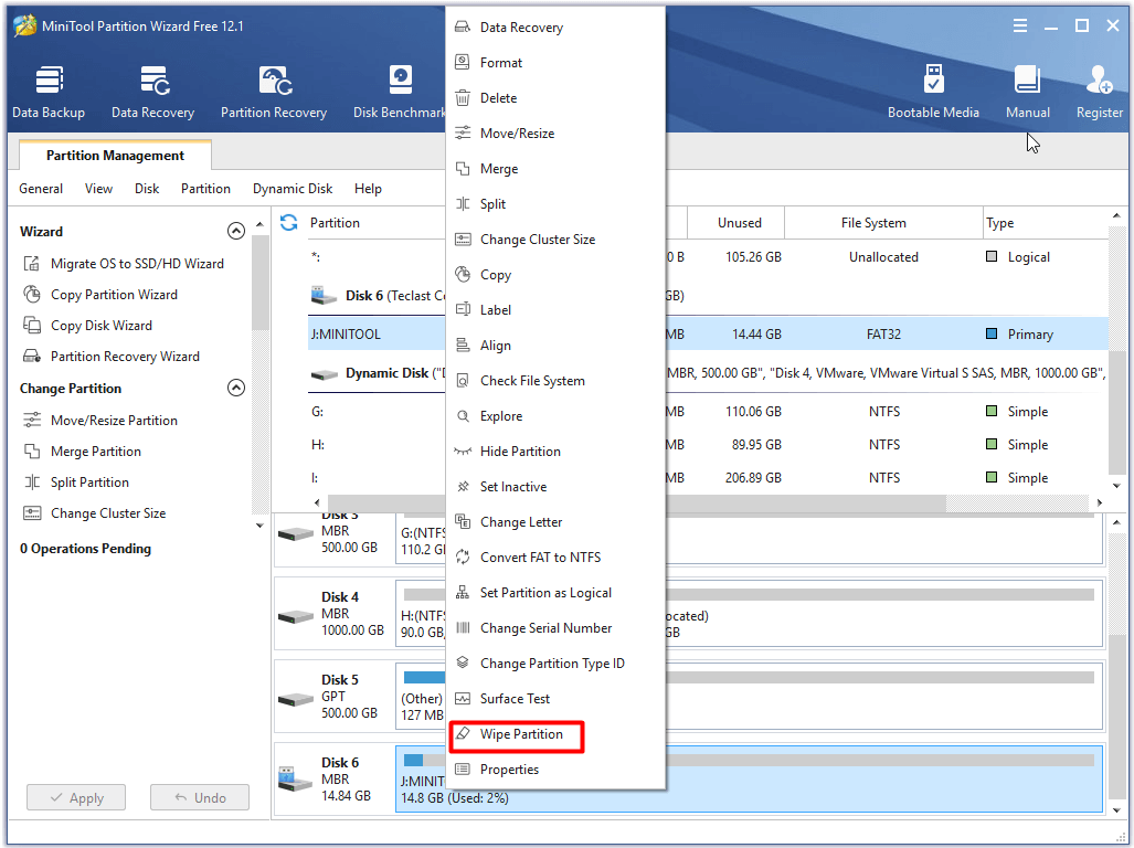 click on Wipe Partition