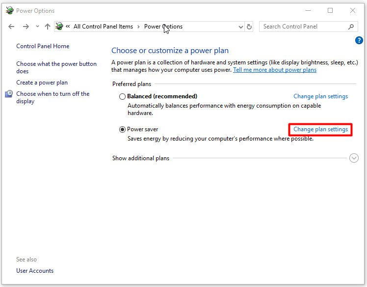Click on Change plan settings