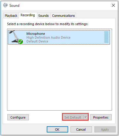 set the desired device as the default recording device