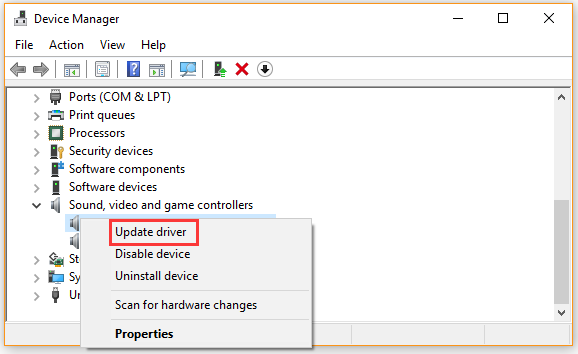 update sound device driver