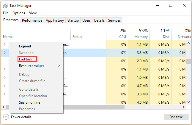 end processes in Task Manager