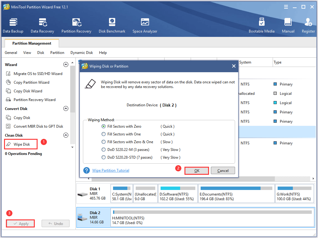 erase a USB drive with MiniTool Partition Wizard