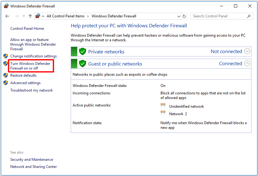 click on the Turn Windows Defender Firewall on or off option