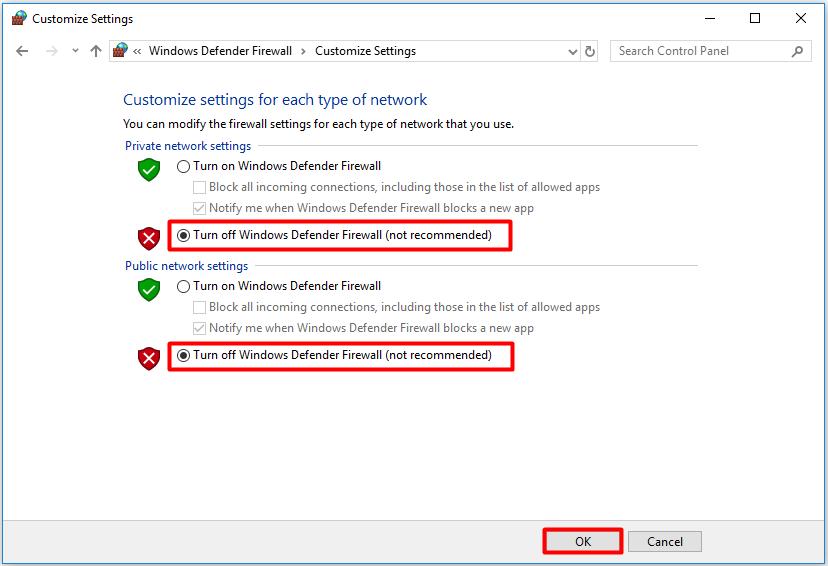 Turn off Windows Defender Firewall not recommended