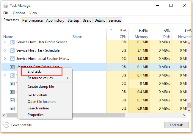 end the process in Task Manager