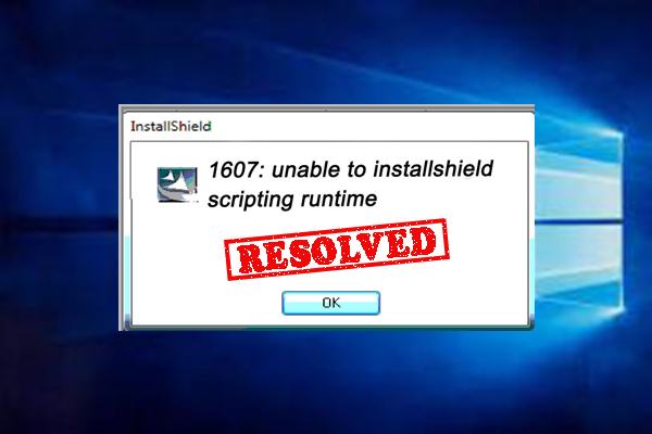 1607 unable to install InstallShield scripting run time