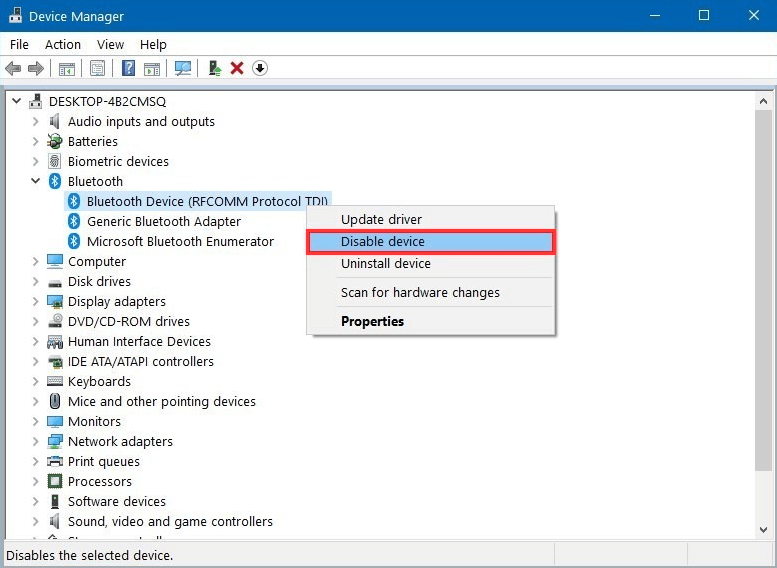 disable Bluetooth