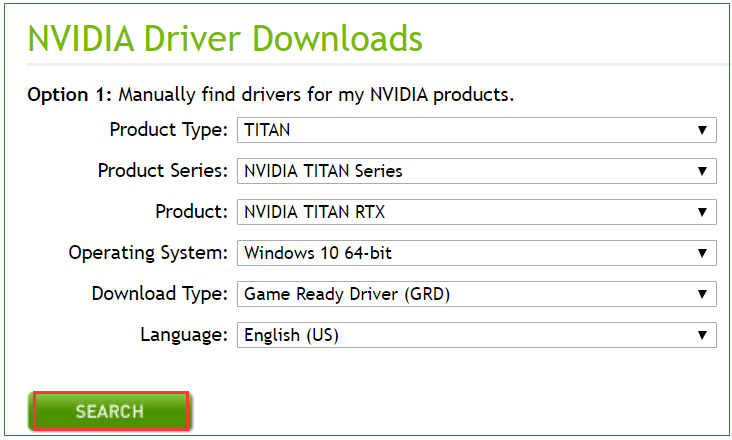 search a right NVidia driver on the page