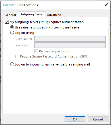 correct the Outlook email settings