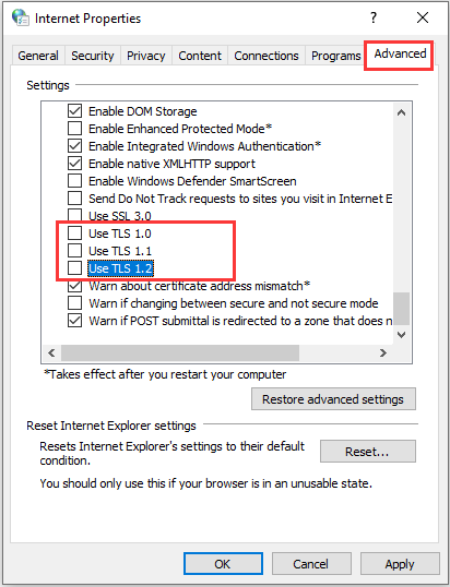 disable TLS options