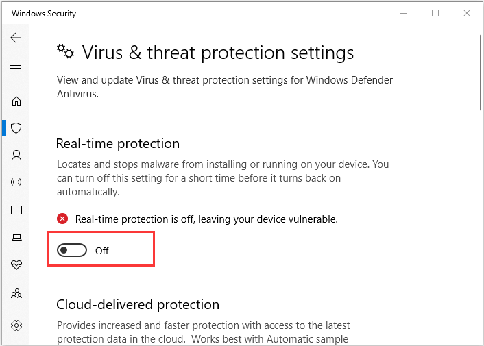 disable Windows Defender antivirus