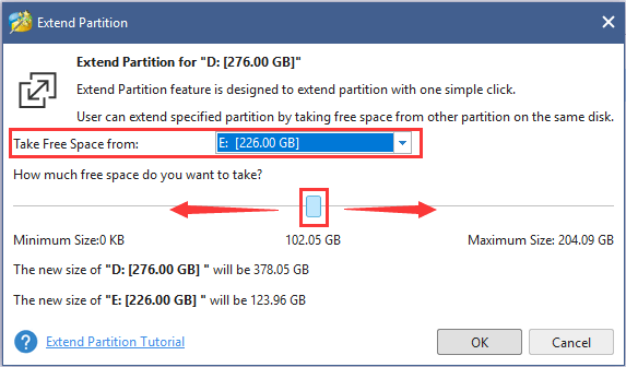 choose partition to take space