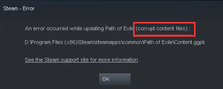 an error occurred while updating a game (corrupt content files)