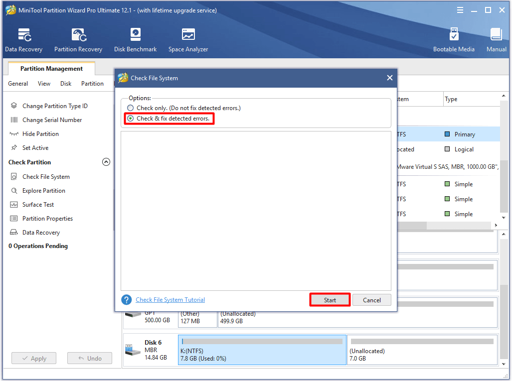 choose check file and fix detected errors