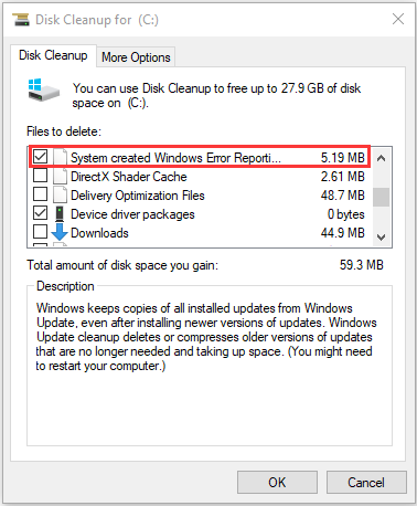 delete Windows Error Reporting files with Disk Cleanup