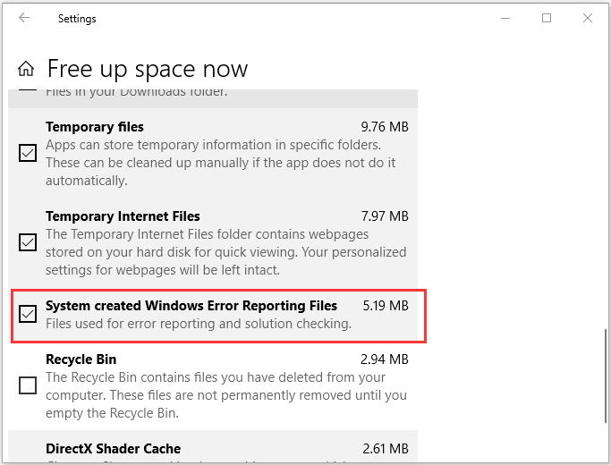 delete Windows Error Reporting Files in Settings