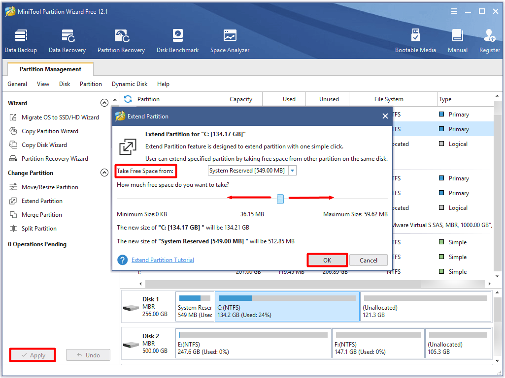 execute the extend partition operation