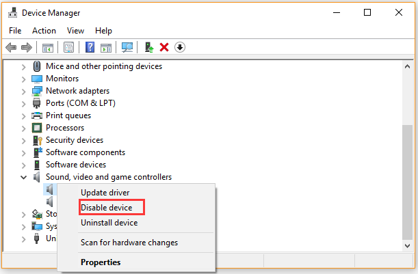click on Disable device