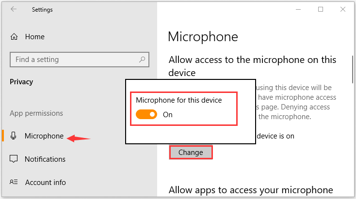 the Microphone for this device option is enabled