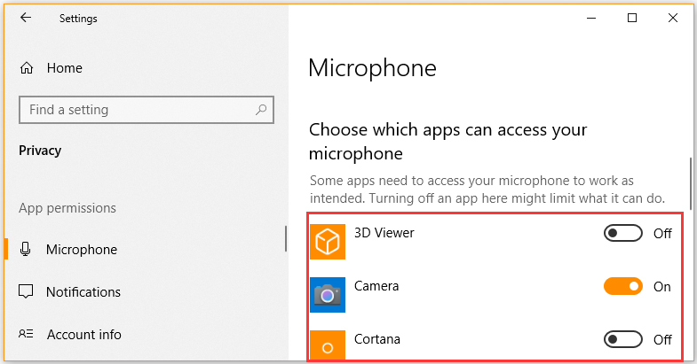 choose which apps can access your microphone