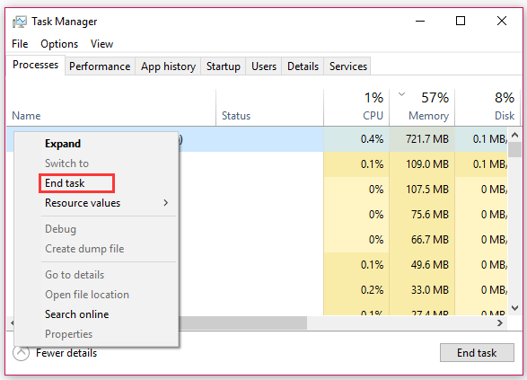 close all third party processes in Task Manager