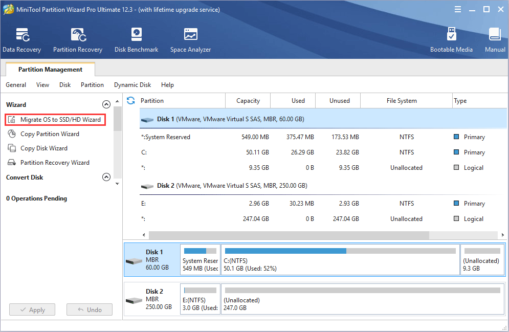 MiniTool Partition Wizard Migrate OS to SSD/HD Wizard