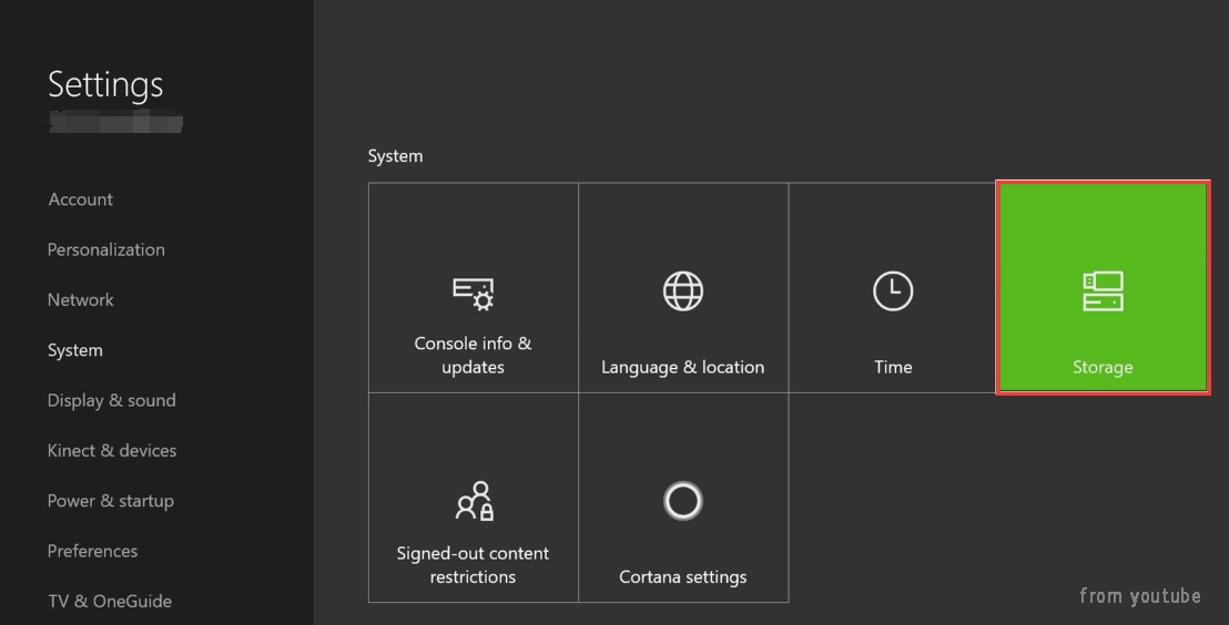 click on Storage on Xbox One