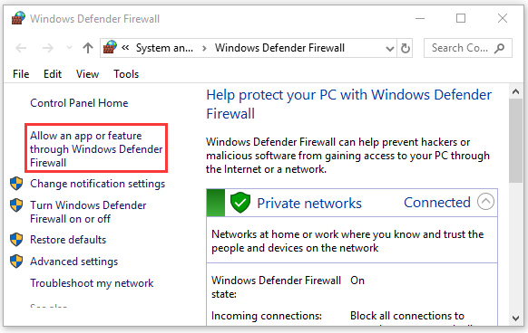 Allow an app or feature through Windows Defender Firewall