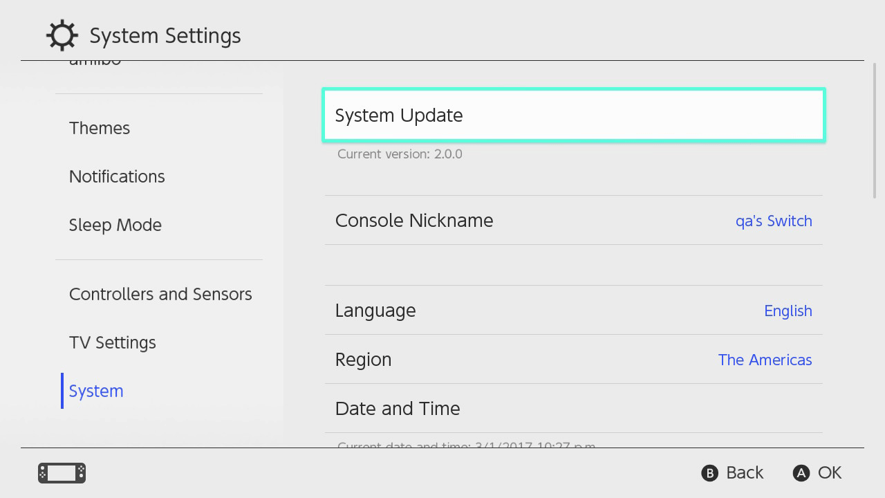 update Nintendo Switch system