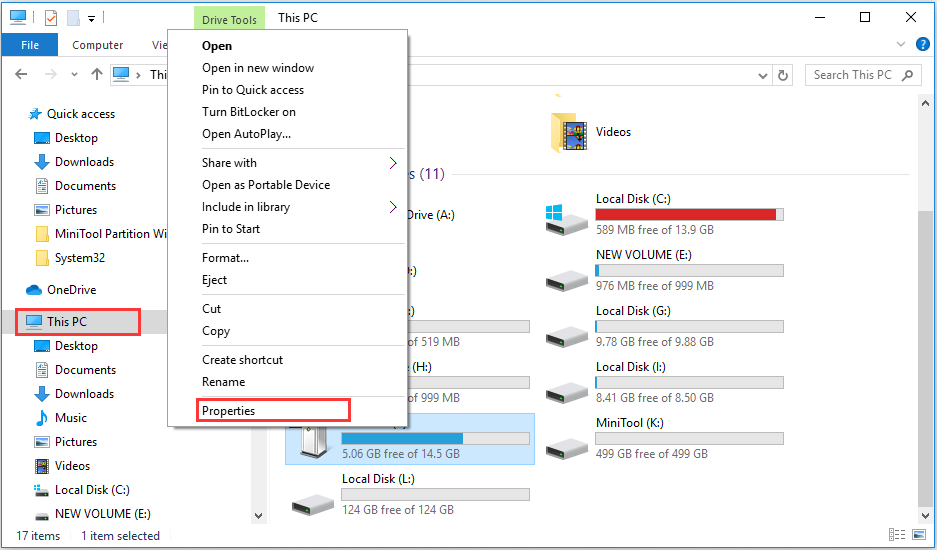 open the properties of the USB flash drive