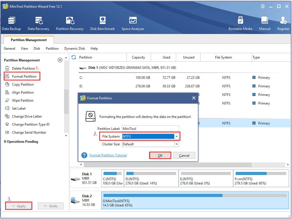 the process of formatting USB drive by MiniTool software