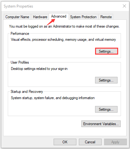 click on Settings on the system properties window
