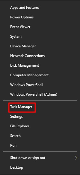open the Task Manager from Start menu