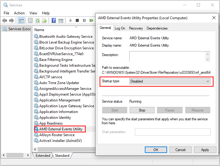 disable AMD External Events Utility service