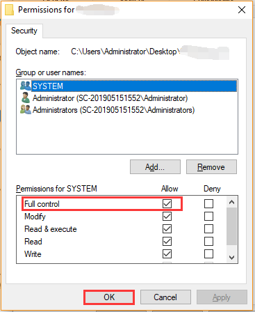 select full control in file permissions