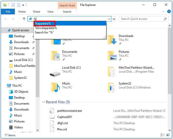 open file explorer and then type the file path