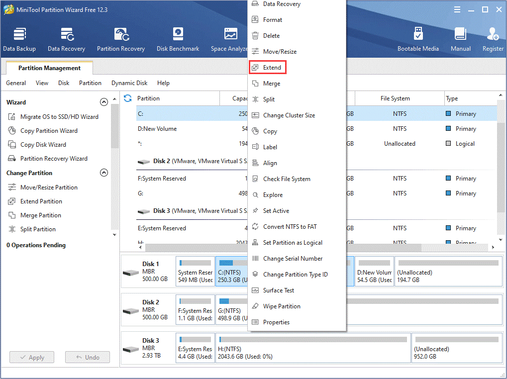 choose the Extend Partition feature
