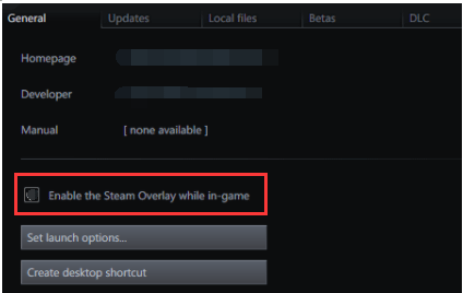 untick Enable the Steam Overlay while in-game
