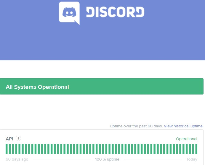 check the status of Discord