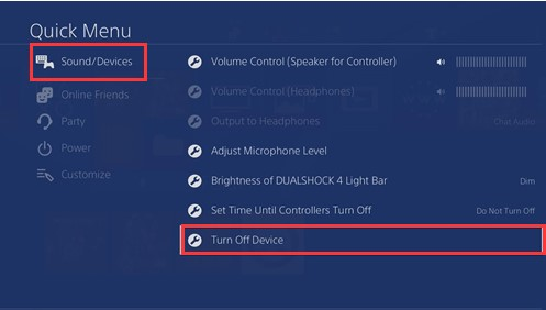 click on turn off device