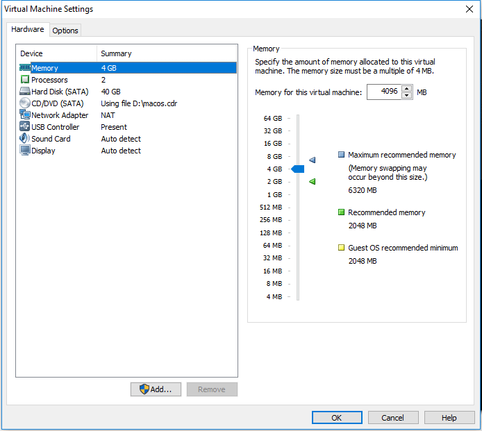 customize VM settings