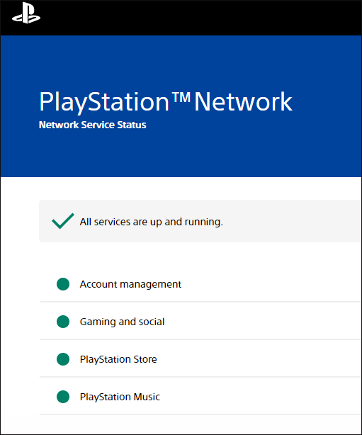 check PS4 Network status