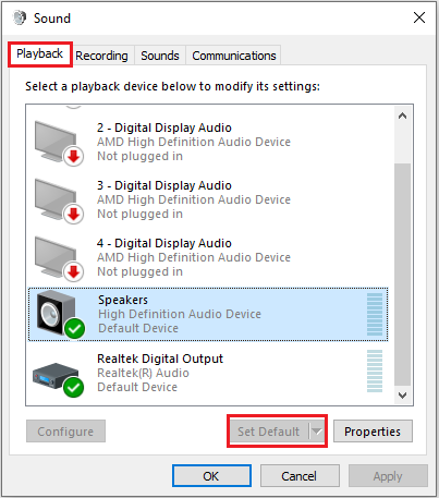 set speaker as default